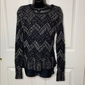 Lucky brand black and white layered sweater